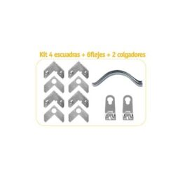 Marco - Aluminio  Kit 4 Escuadras+8 Flejes+2 Colg+4bumpons