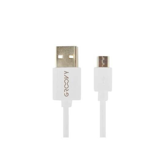 Cable Usb - Groovy MicroUsb 1 metro carga y datos Blanco Pack 5 u.