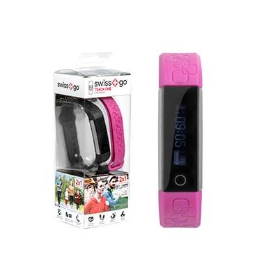 Smart Bracelet - Swiss+go TRACK ONE Negro/Fucsia Pantalla 0,86 pulg. (2 correas) | GE-W38