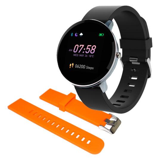 Swiss+Go Smart Watch Arosa Esfera Plata correa Negra + correa Color