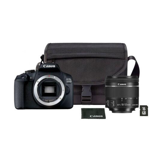 Canon Cámara Reflex Eos 2000D Kit Objetivo 18-55mm IS II Kit Funda y SD 16Gb