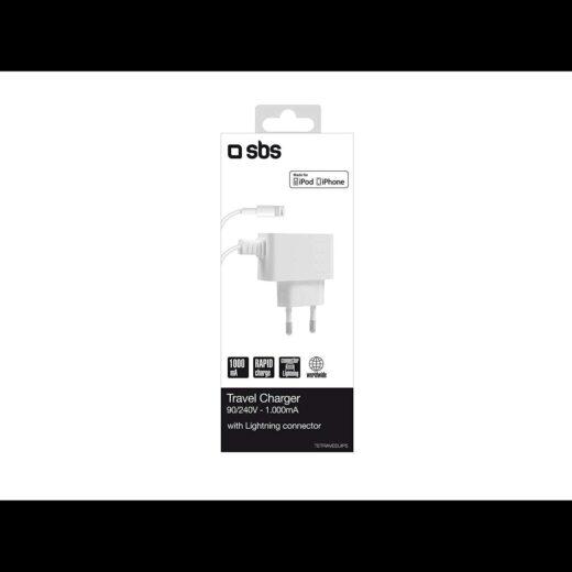 Cargador Red - SBS con puerto Lightning USB 1000 mAh 80 cm Blanco | TETRAVEEUIP5