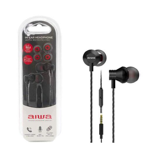 Auricular Aiwa ESTM-50BK Negro, 20Hz-20kHz, cable 1,2 mts, Micrófono