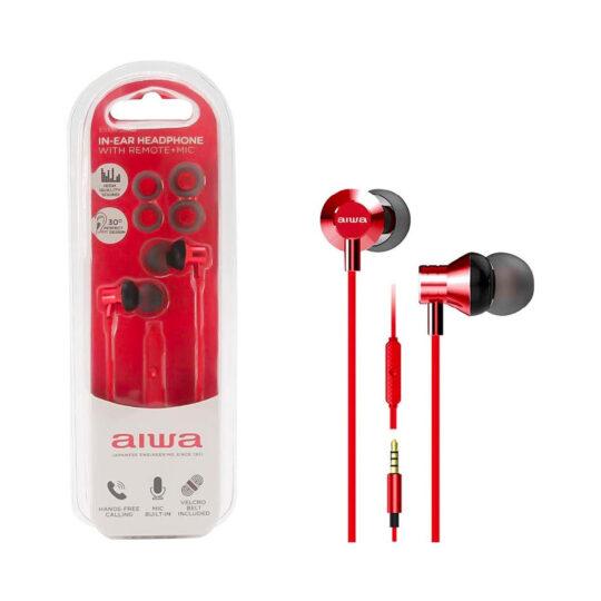 Auricular Aiwa ESTM-50BK Rojo, 20Hz-20kHz, cable 1,2 mts, Micrófono