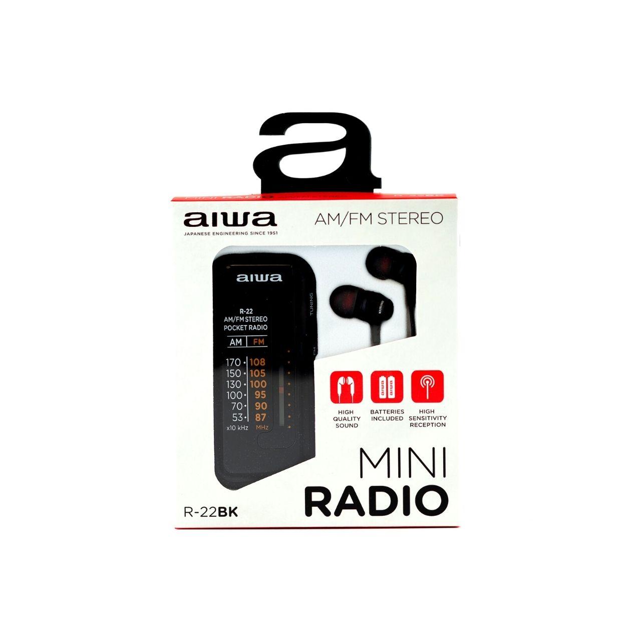Aiwa Radio de bolsillo R-22BK + auriculares, AM/FM, Negra