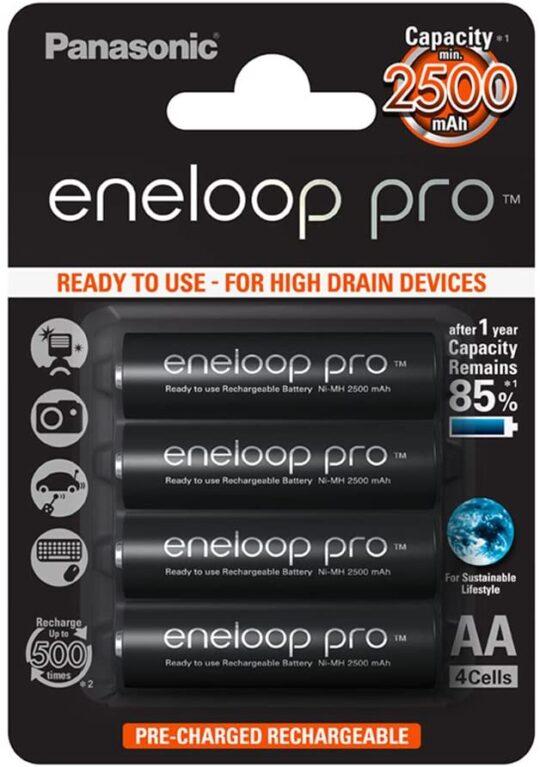 Panasonic Eneloop Pro Pila Recargable R6/AA NiMh 2500mAh 1,2V Blister 4 u.