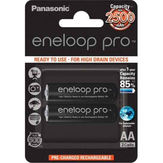 Panasonic Eneloop Pro Pila Recargable R6/AA NiMh 2500mAh 1,2V Blister 2 u.