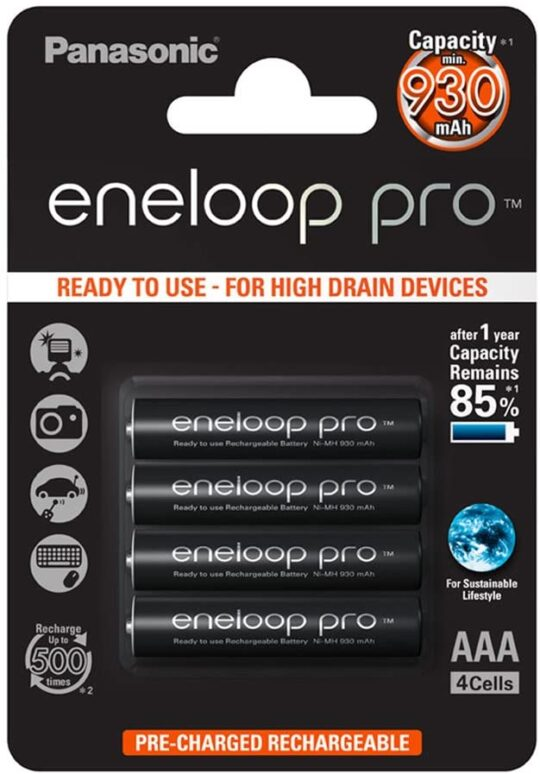 Panasonic Eneloop Pro Pila Recargable R3/AAA Panasonic Eneloop Pro Recargable R3 NiMh 930mAh 1,2V Blister 4 u.
