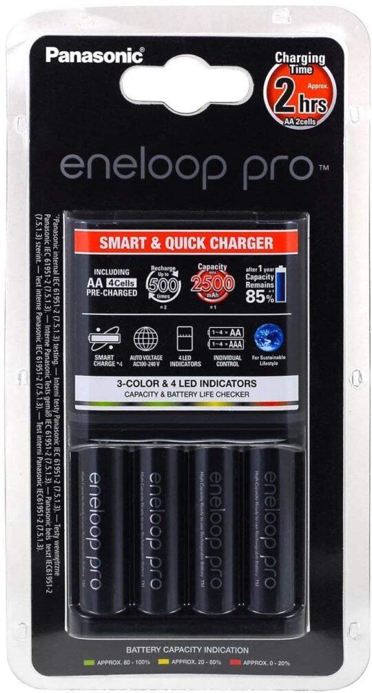 Panasonic Eneloop Cargador Pro + 4 Pilas AA 2500mAh
