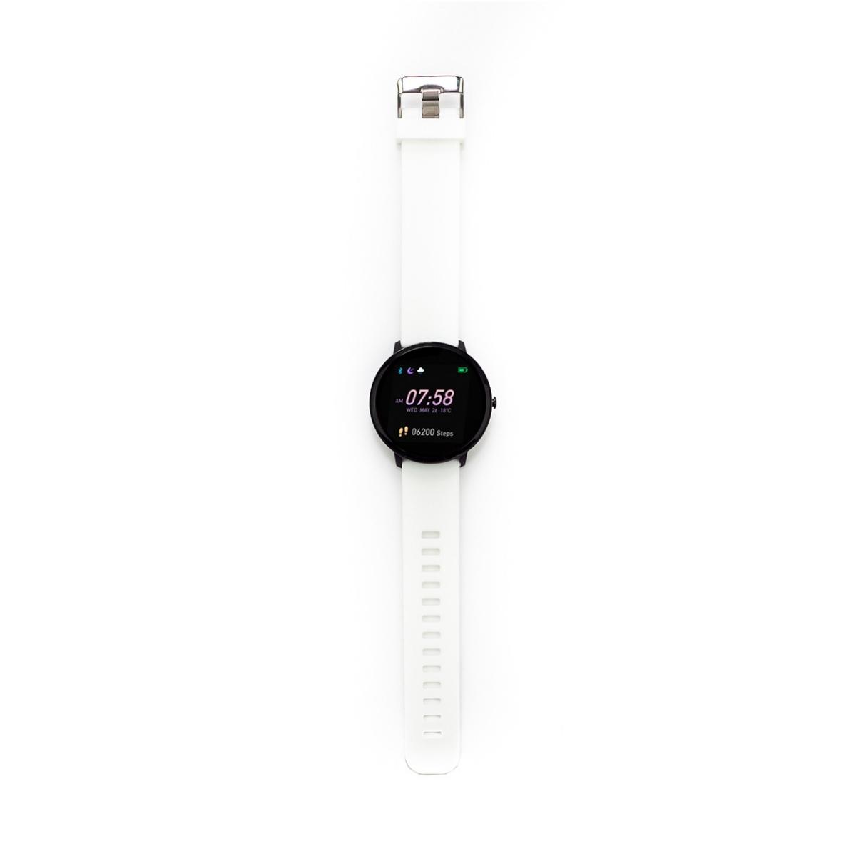 Swiss+Go Smart Watch Arosa Esfera Negra correa Blanca