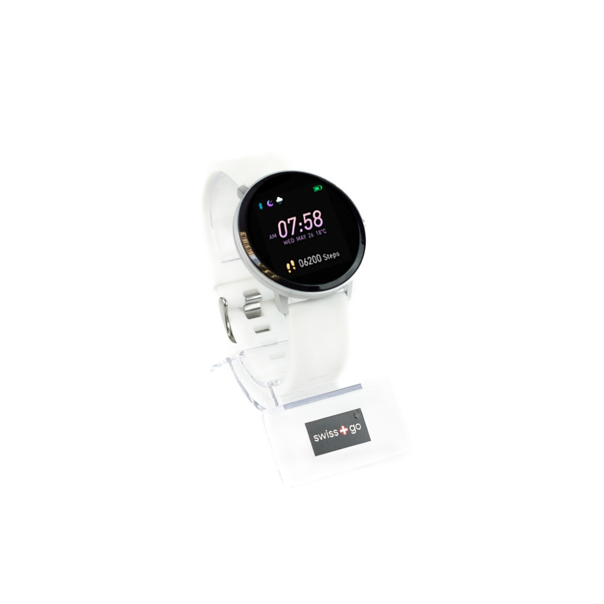 Swiss+Go Smart Watch Arosa Esfera Plata correa Blanca