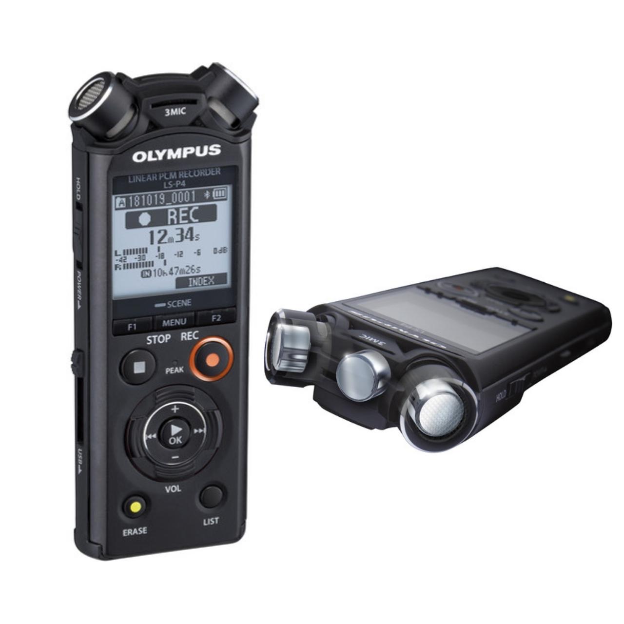 Olympus LS-P4 Grabadora Digital de Voz + Batería recargable, adaptador trípode