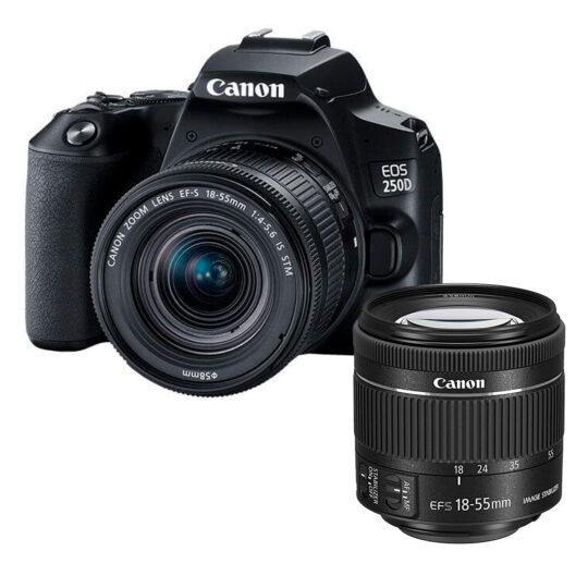 Canon Cámara Reflex Eos 250D Kit Objetivo EF-S 18-55mm F4-5.6 IS STM Negra