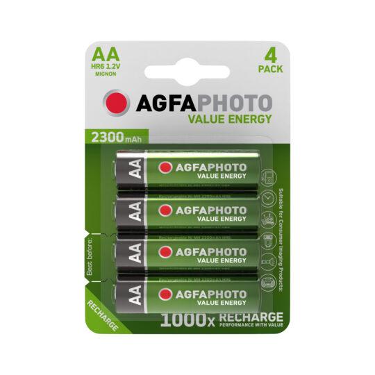 AgfaPhoto Recargable Pila AA/HR6 2300 mAh, Blíster 4 u.